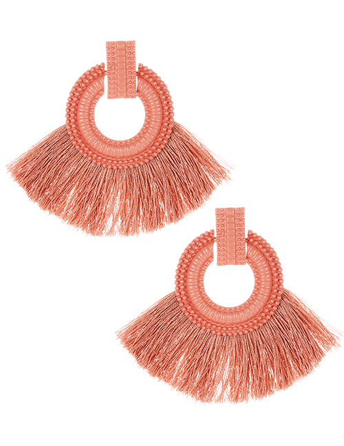 Fashion Pink Pure Color Design Tassel Earrings