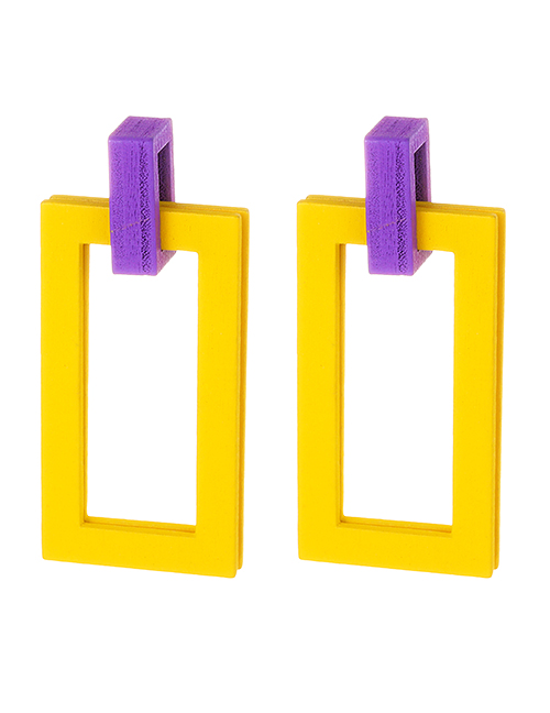 Fashion Yellow Square Shape Decorated Simple Earrings