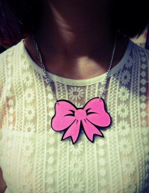 Fashion Plum Red Bowknot Pendant Decorated Hip-hop Necklace