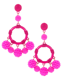Fashion Plum Red Full Pearls Decorated Round Shape Earrings