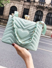 Lovely Green Heart Pattern Decorated Pure Color Bag