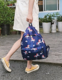 Lovely Blue Cartoon Unicorn Pattern Decorated Backpack