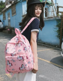 Lovely Pink Cartoon Unicorn Pattern Decorated Backpack
