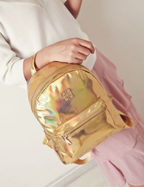 Fashion Gold Color Pure Color Design Simple Backpack