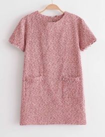 Elegant Pink Round Neckline Design Short Sleeves Dress