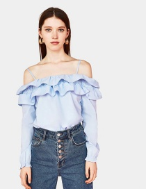 Elegant Light Blue Off Shoulder Design Pure Color Shirt