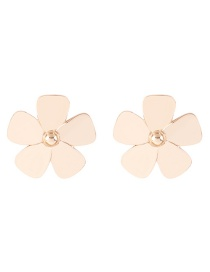 Elegant Gold Color Flowers Decorated Pure Color Earrings