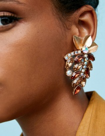 Elegant Champagne+brown Leaf Decorated Hollow Out Earrings