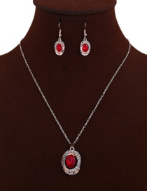Elegant Red Oval Shape Pendant Decorated Jewelry Sets