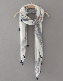 Fashion White Flower Pattern Decorated Shawl
