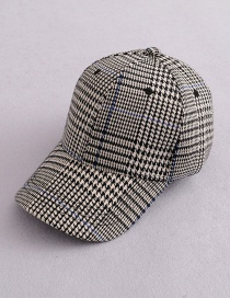 Fashion Black Grids Pattern Decorated Hat