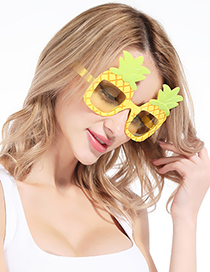 Fashion Yellow+green Pineapple Shape Design Glasses