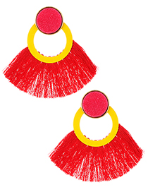 Fashion Red Tassel Decorated Round Earrings