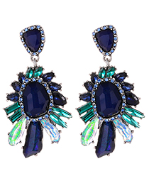 Fashion Navy Irregular Shape Decorated Earrings