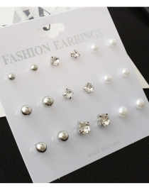 Fashion Silver Color Round Shape Decorated Earrings(9 Pcs)