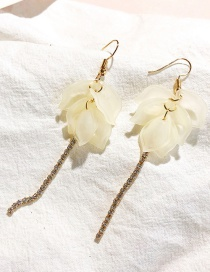 Fashion Beige Flower Shape Decorated Tassel Earrings