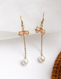 Fashion Pink Bowknot Shape Decortaed Tassel Earrings