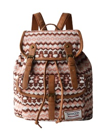 Fashion Khaki Geometric Pattern Decorated Backpack