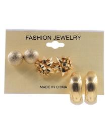 Fashion Gold Color Round Shape Decorated Earrings (6 Pcs)