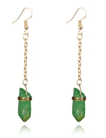 Fashion Green Stone Decorated Earrings