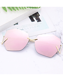 Fashion Pink Geometry Shape Decorated Pure Color Sunglasses