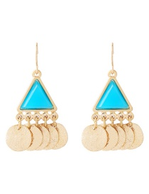 Simple Blue Triangle Shape Decorated Earrings