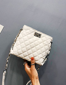 Fashion White Buckle Decorated Pure Color Shoulder Bag