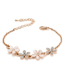 Fashion Gold Color Flower Shape Decorated Bracelet