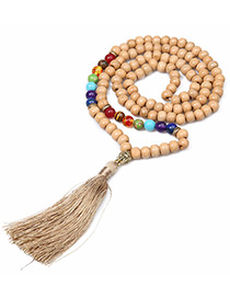 Fashion Khaki Bead&tassel Decorated Necklace