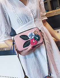 Fashion Pink Flower Shape Decorated Shoulder Bag