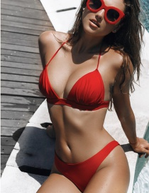 Sexy Red V Neckline Design Pure Color Bikini