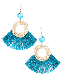Elegant Peacock Blue Circular Ring Decorated Tassel Earrings