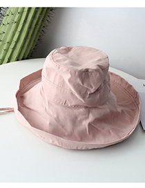 Fashion Light Pink Pure Color Decorated Fisherman Hat