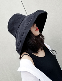 Fashion Black Pure Color Decorated Fisherman Hat