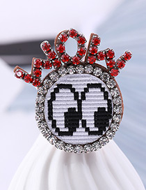 Fashion Red Letter Shape Decorated Brooch