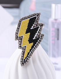 Fashion Black+yellow Thunder Shape Decorated Brooch
