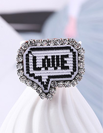 Fashion White+black Letter Pattern Decorated Brooch