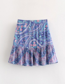 Fashion Blue Flowers Pattern Decorated Simple Skirt