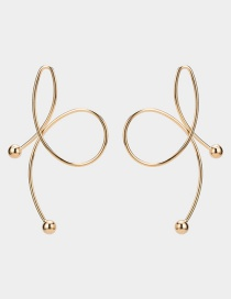 Elegant Gold Color Bowknot Shape Design Pure Color Earrings