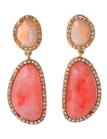 Fashion Red Irregular Shape Decorated Long Earrings