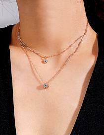 Fashion Gold Color Diamond Decorated Double Layer Necklace