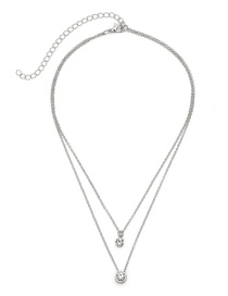 Fashion Silver Color Diamond Decorated Double Layer Necklace