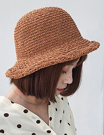 Trendy Brown Curling Design Pure Color Sunscreen Hat