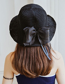 Trendy Black Bowknot Decorated Knitted Sunscreen Hat