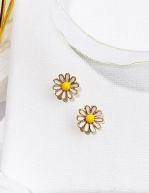 Elegant Yellow+white Flowers Shape Decorated Earrings