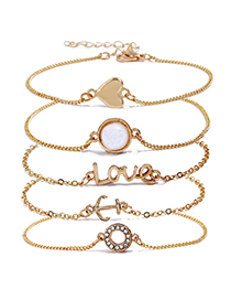 Fashion Gold Color Letter Love Decorated Bracelet(5pcs)