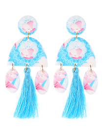 Fashion Blue Oval Shape Design Tassel Earrings