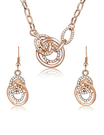 Fashion Gold Color Hollow Out Round Shape Design Jewelry Sets