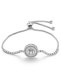 Fashion Silver Color Round Shape Decorated Pure Color Bracelet