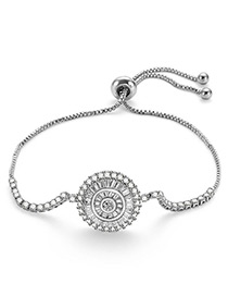 Fashion Silver Color Wheel Shape Design Pure Color Bracelet